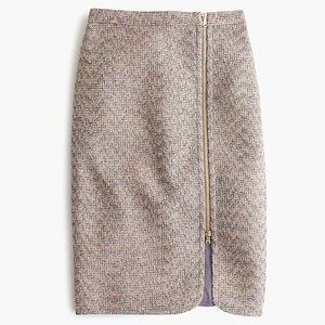 J crew purple sparkle tweed zip front pencil skirt